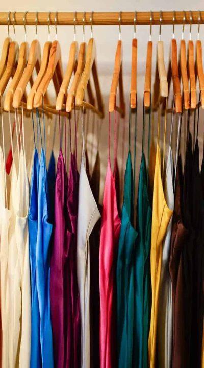 silk slip dresses in various colours