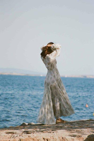 floor length dress with elasticated waist