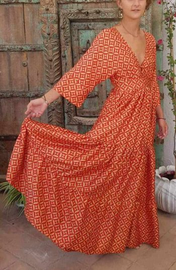 silk kimono dress red geo print