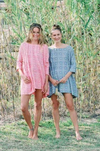 pink and blue silk tunics