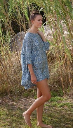 short blue silk aloka tunic
