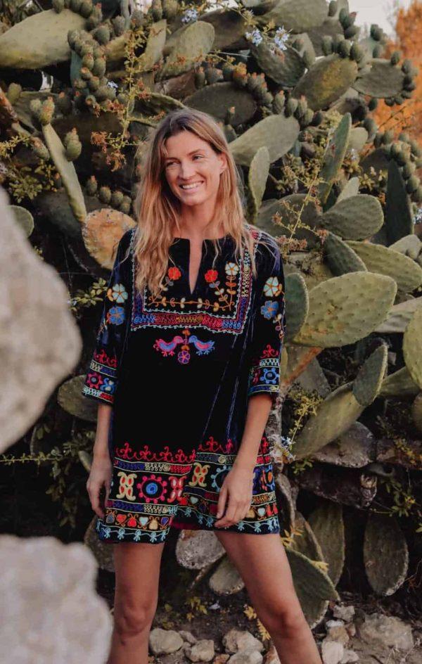 embroidered velvet tunic