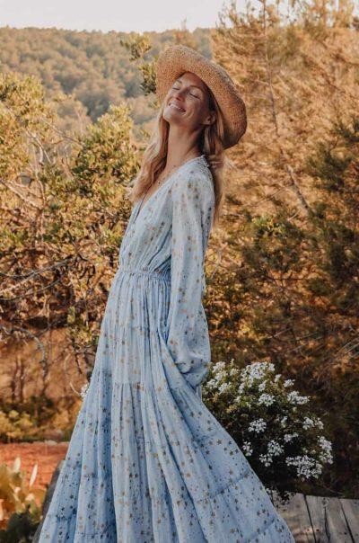 long blue dress in a star print