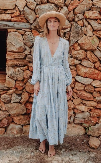 long sleeved dress with a v-neck in a blue star print