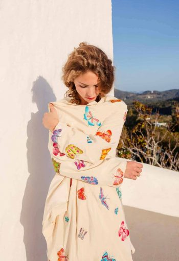 silk flying jacket with butterfly embroidery