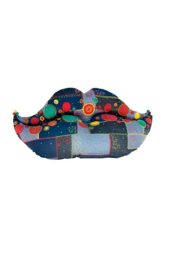 Denim Embroidered Kiss Cushion