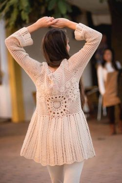 cream coloured crochet tunic winter in ibiza