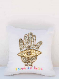 cushion with an embroidered hand of Hamsa