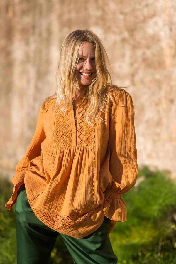 romanian lace tunic orange