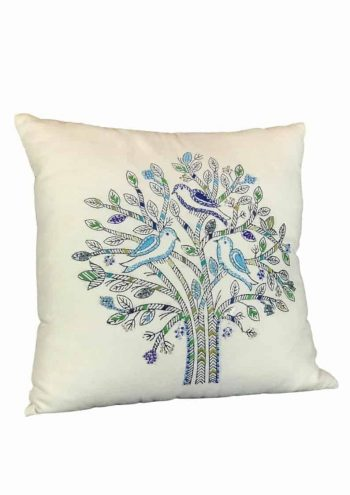 blue embroidered tree with birds