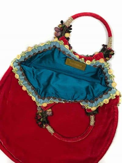 red bag with blue lining