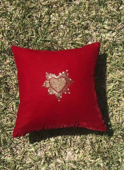 red velvet cushion