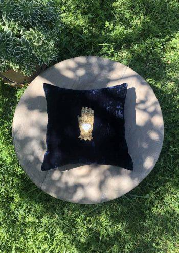 velvet hamsa cushion