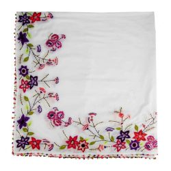 cotton embroidered scarf with french knot