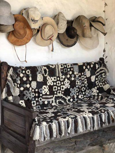 Grey Floral Crochet Blanket