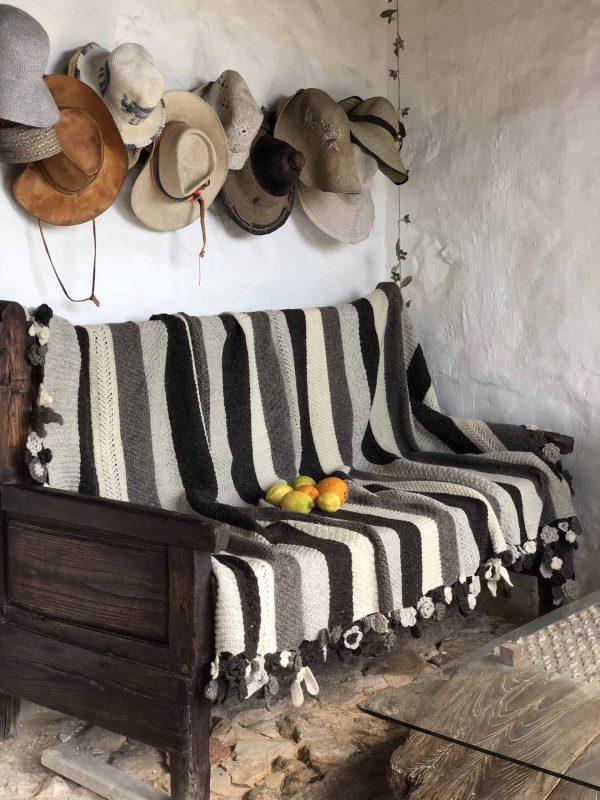 Striped Grey & Floral Crochet Blanket