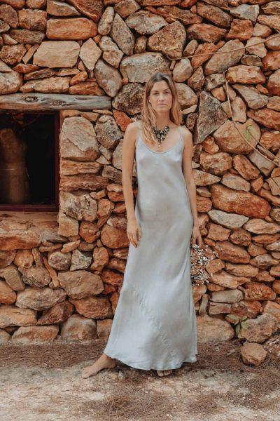 Poppy Slip Dress In Silver Silk