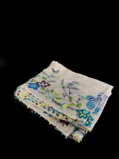 Hand Embroidered Floral Scarf in Blues