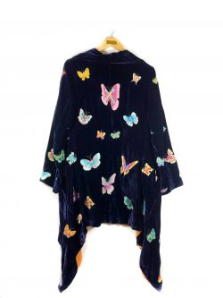 butterfly embroidered silk velvet jacket with lining