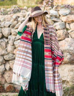 wool shawl with stripes