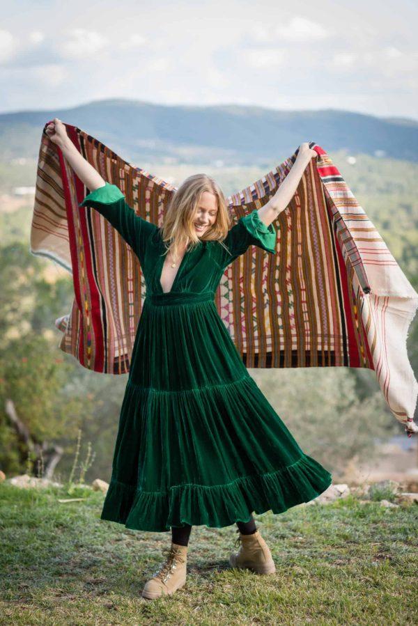 multicoloured striped blanket shawl