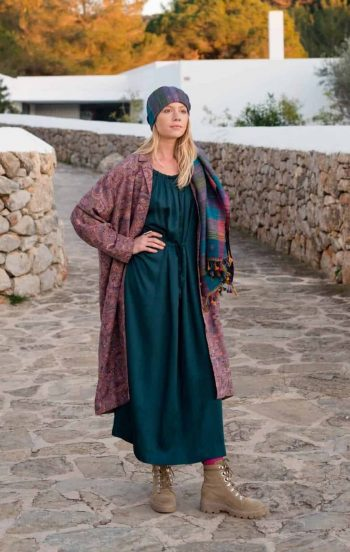 teal tie dress and shawl