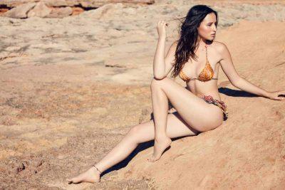 sunbathing in a silk bikini