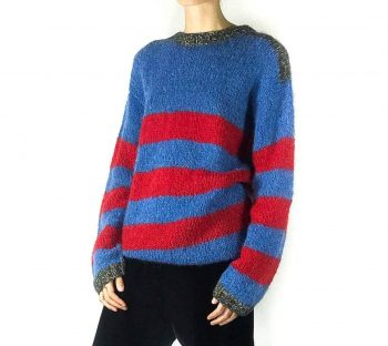 blue and red mohair jumper