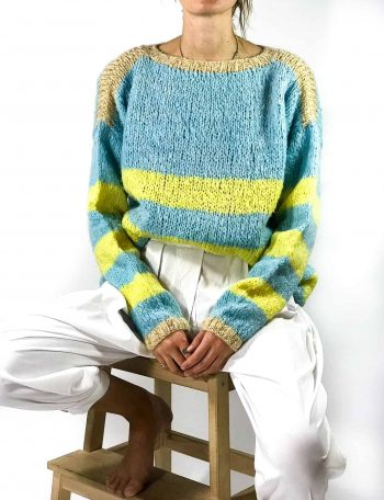 Turquoise & Yellow Mohair jumper