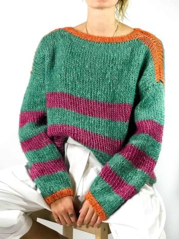 Green and pink striped mohair jumper