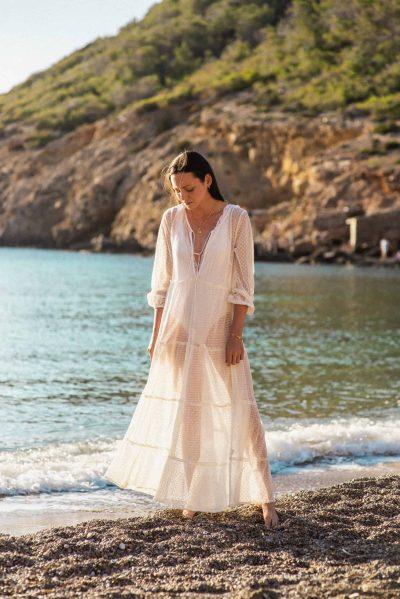 long lace net dress in white