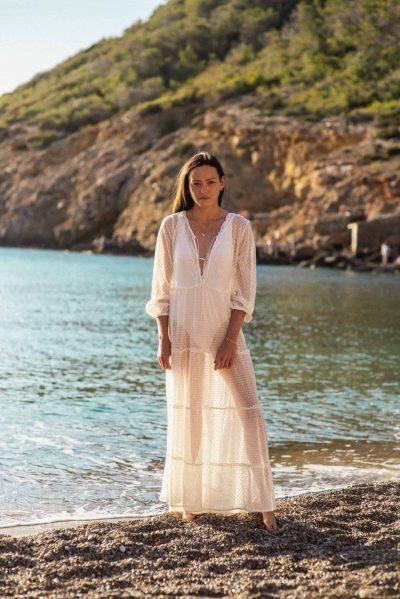white lace net dress