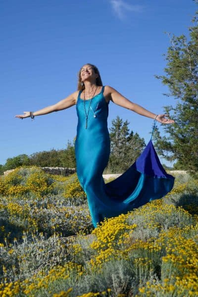 Poppy Dress In Blue Silk With Train
