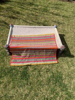 blanket in colourful stripes
