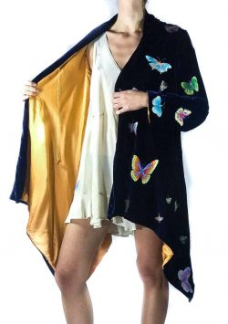 velvet butterfly embroidered flying jacket