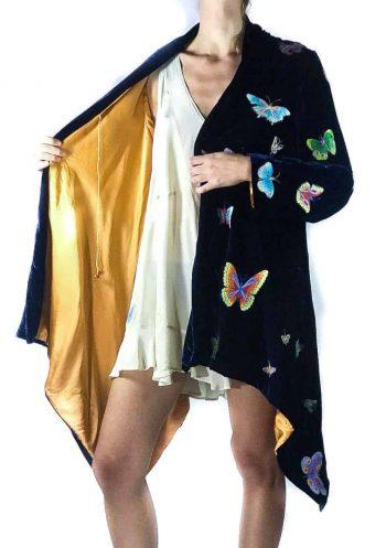 velvet butterfly embroidered flying jacket
