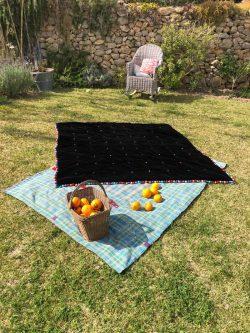 Black Velvet Blanket With Silk Ball Trim