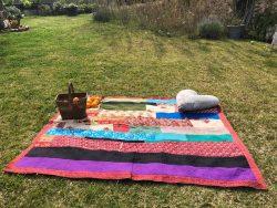 Patchwork Kantha Blanket with Orange Trim