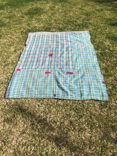 turquoise patchwork kantha blanket