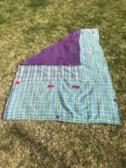 purple and turquoise kantha blanket