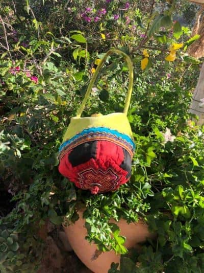 Antique Hat Bag With Green Silk Velvet