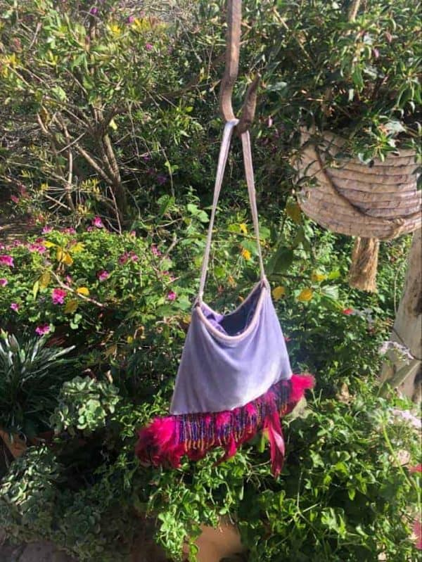 Funky Velvet Feather Bag in Lilac