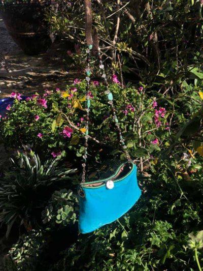 Necklace Bag in Turquoise Velvet
