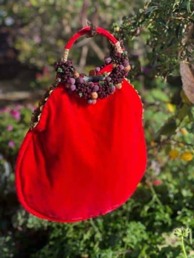 Large Fruits of The Forest Bag in Red Velvet