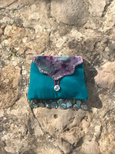Mother Of Pearl Trim Turquoise Velvet Clutch Bag