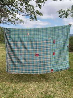 turquoise kantha blanket