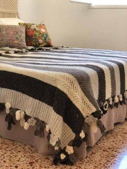 striped grey blanket