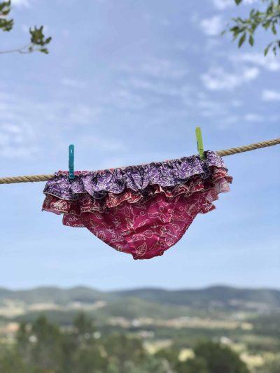 Hot Pink Silk Frilly Rock Bikini