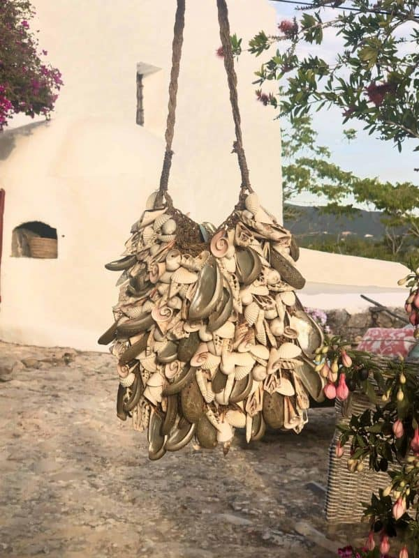 bag covered in sea shells