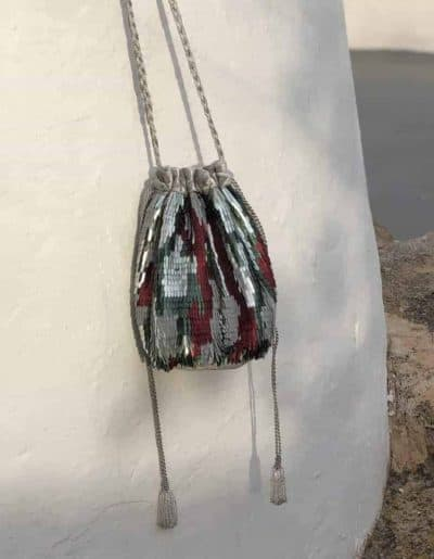 Silver feather sequin bag
